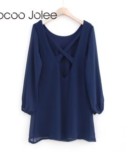 Jocoo Jolee Sexy Back Lace up Dress for Women Winter Warm O-Neck Solid Color Dress Long Sleeves Casual Loose Style 2017 New 1