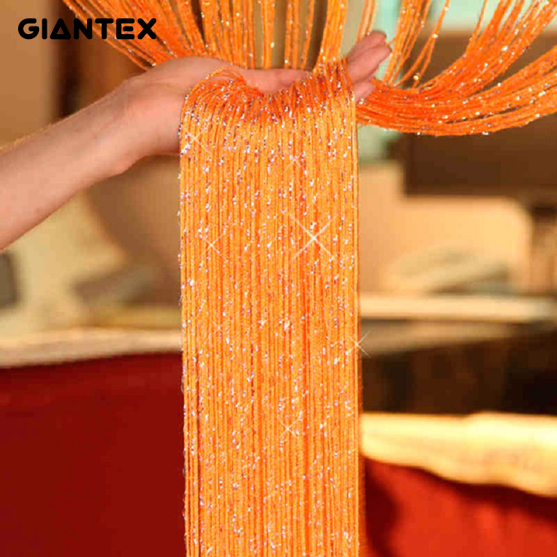GIANTEX Shiny Tassel Flash Silver Line String Curtain Window Door Divider Sheer Curtain Valance Home Decoration 0.95x1.95m U0604