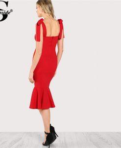 Sheinside 2018 Ruffle Party Dress Red Sleeveless High Waist Fishtail Dress With Tied Strap Women Plain Long Bodycon Dress 1