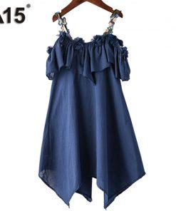 A15 Girls Dress Summer 2017 Casual Blue White Kids Dresses for Girls Off Shoulder Teenage Girl Clothing Children 8 10 12 14 Year
