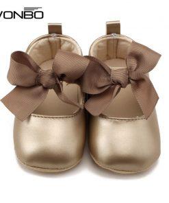 WONBO 0-18M Toddler Baby Girl Soft PU Princess Shoes Bow Bandage Infant Prewalker New Born Baby Shoes