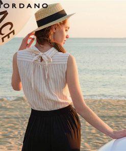 Giordano Women Shirt Sleeveless Turn Down Collar Fashion Women Tops 2018 Summer Vest Shirt Brand Clothing New Arrivals