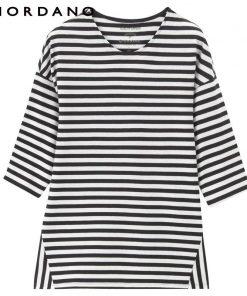 Giordano Women Half Sleeve Tshirt Loose Cutting Female T-shirt Striped T-shirts For Women Fashion Lady Tops 1