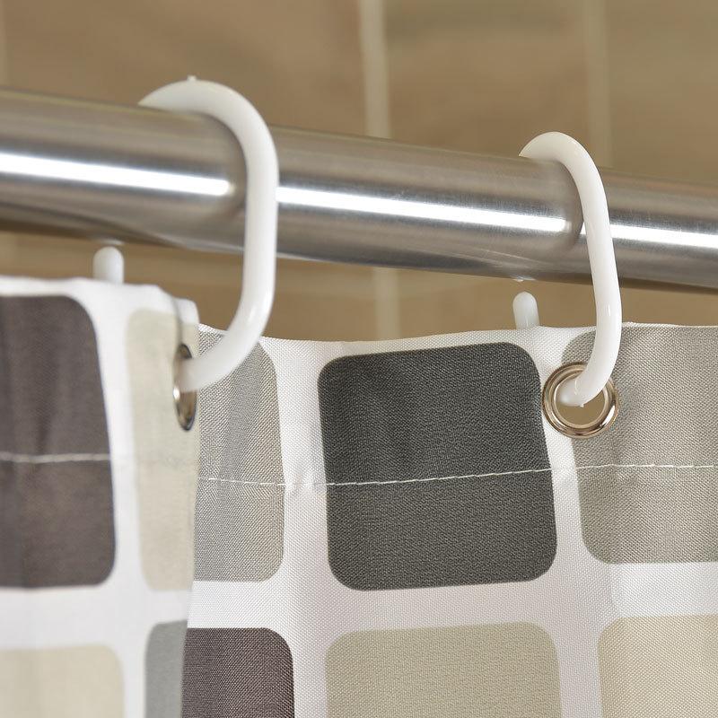 GIANTEX Plaid Polyester Bathroom Waterproof Shower Curtains With Plastic Hooks U1269 1