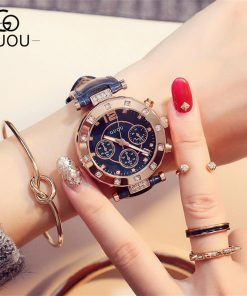 GUOU Watch Luxury Ladies Watch Fashion Quartz Watch Women Rhinestone Leather Casual Women's Watch Rose Gold relogio feminino