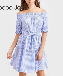 Jocoo Jolee Casual Striped Knee-Length Dress for Women Sexy Off Shoulder Dress with Sashes  Women Party Dress 2018 Spring  1