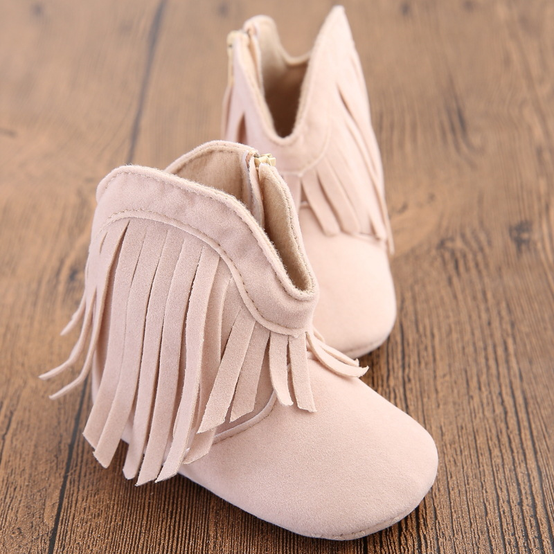Moccasin Moccs Newborn Baby Girl Boy Kids Prewalker Solid Fringe Shoes Infant Toddler Soft Soled Anti-slip Boots Booties 0-1Yea 1