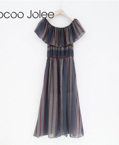 Jocoo Jolee Casual off Shoulder Long Dress for Lady Office Style the Clairvoyance with Ruffles Shawl Design Party Dress 2018
