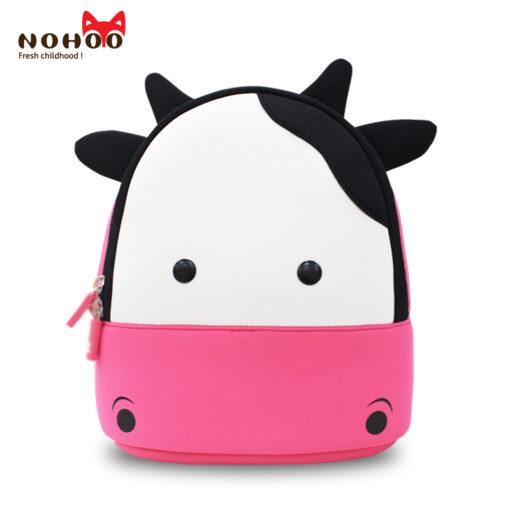 NOHOO Waterproof Kids Backpack 3D Cute Cow Cartoon Toddler Backpack  Pre School Baby Children Sidesick Bags for 2-5 Years Old