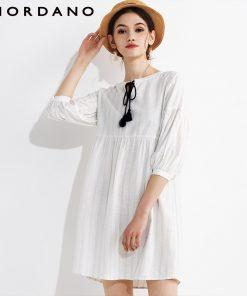 Giordano Women Dress Blouse Drawstring Puff Sleeve Quality Linen Cotton Dress Blusa Feminina Spring Autumn New Vestidos