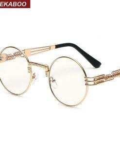 Peekaboo vintage retro gothic steampunk mirror sunglasses gold and black sun glasses vintage round circle men UV gafas de sol 1