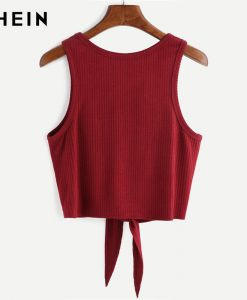 SHEIN Summer Style Tank Top for Ladies Woman Casual Tops Plain Round Neck Sleeveless Tie Front Ribbed Crop Tank Top 1