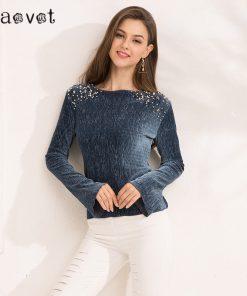 Gaovot 2018 Spring Women Tops Series Autumn Beading Casual Full Sleeve Velvet T Shirts Female Rib Fashion Camisetas SAB34805