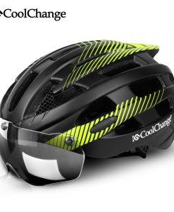 CoolChange Cycling Helmet With Light Windproof Glasses Bike Helmet MTB Insect Net Integrally Molded Men Women Bicycle Helmet