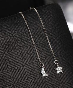17KM Fashion Crystal Water Drop Earrings for Women Wedding Punk Star Moon Gold Color Long Tassel Dangle Bar Statement Jewelry 1