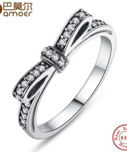BAMOER 925 Sterling Silver Sparkling Bow Knot Stackable Ring Micro Pave CZ for Women Valentine's Day Gift Jewelry PA7104