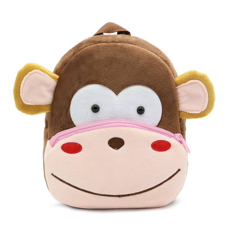 2017 Plush Children Backpacks Kindergarten Schoolbag 3D Cartoon Monkey Animal Kids Backpack Children School Bags for Girls Boys 1