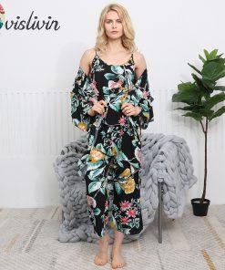 Vislivin 3pcs Suit Robe Floral Sexy Home Pajamas Women Loose Plus Size Robe Nightdress New Style Summer Sleepwear Femme Robe