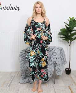 Vislivin 3pcs Suit Robe Floral Sexy Home Pajamas Women Loose Plus Size Robe Nightdress New Style Summer Sleepwear Femme Robe