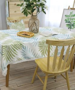 GIANTEX Pastoral Leaf Pattern Decorative Table Cloth Cotton Linen Lace Tablecloth Dining Table Cover Kitchen Home Decor U1234 1