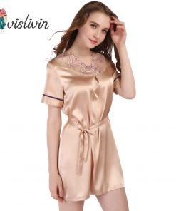 Vislivin Female Top Fashion Embroidery Sleeprobe Summer Style Bath Robe 2017 Sleepwear Women Lounge Casual Dress Nightgown  1