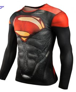 Mens Crossfit Long Sleeve Compression Shirt 3D Anime Superhero Superman Captain America T Shirt Tights Dry Fit Fitness Top Tees