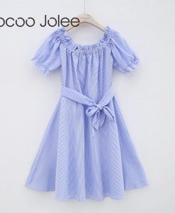 Jocoo Jolee Casual Striped Knee-Length Dress for Women Sexy Off Shoulder Dress with Sashes  Women Party Dress 2018 Spring