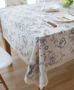 GIANTEX Retro Floral Print Decorative Table Cloth Cotton Linen Lace Tablecloth Dining Table Cover For Kitchen Home Decor U1000 1