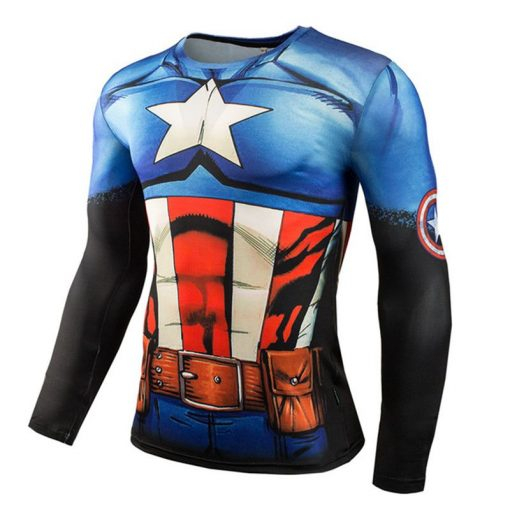 Hot Sale Fitness MMA Compression Shirt Men Anime Bodybuilding Long Sleeve Crossfit 3D Superman Punisher T Shirt Tops Tees 2