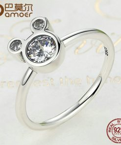 BAMOER New Arrival Authentic 100% 925 Sterling Silver Dazzling Miky Mouse Rings for Women Sterling Silver Jewelry SCR032 1