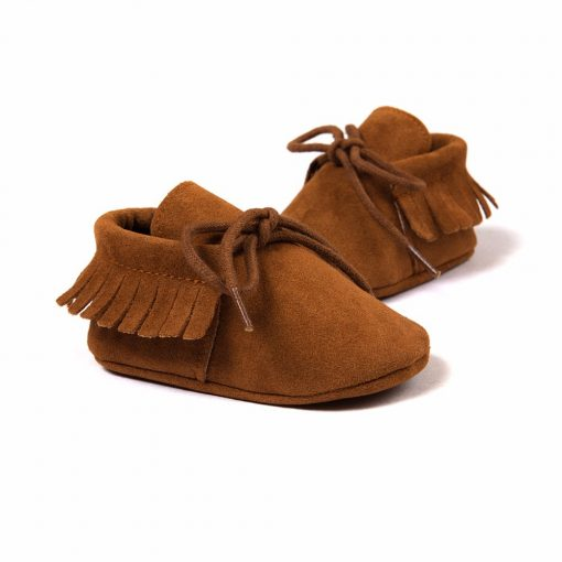 Baby Boy Girl Baby Moccasins Soft Moccs Shoes Bebe Fringe Soft Soled Non-slip Footwear Crib Shoes New PU Suede Leather Newborn 2