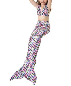 BONJEAN 3PCS Children Kids Girls Mermaid Tail cute Bikinis Set Princess Swimwear Mermaid Tail Swimsuit Holiday Dress 1