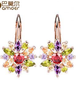 BAMOER 3 Colors Luxury Gold Color Flower Stud Earrings with Zircon Stone Women Birthday Gift Bijouterie JIE014 1