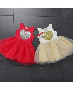 Belababy Girls Dress Summer Cute Heart Sequined Tutu Baby Dress Girls Lace Party Dress For Girls Children Clothing Vestidos Nina 1