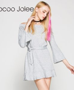 Jocoo Jolee Casual Long Knitted Dress With Sashes Women Solid Design Off Shoulder Dress Autumn&Winter Arrival Knee-Length Dress