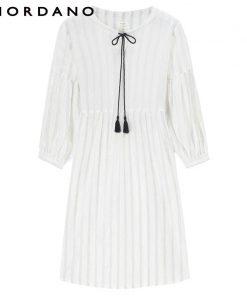 Giordano Women Dress Blouse Drawstring Puff Sleeve Quality Linen Cotton Dress Blusa Feminina Spring Autumn New Vestidos 1