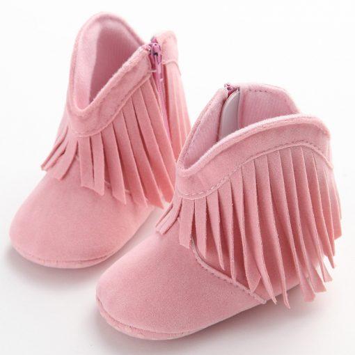 Moccasin Moccs Newborn Baby Girl Boy Kids Prewalker Solid Fringe Shoes Infant Toddler Soft Soled Anti-slip Boots Booties 0-1Yea 5