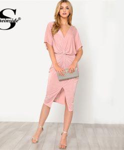 Sheinside Pink V-Neck Twist Front Dress Solid High Waist Half Sleeve Dress 2018 Summer Women OL Work Elegant Dress