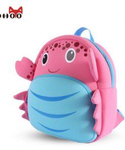 NOHOO Waterproof School Bags for Girls Cartoon Crab Fashion Printing Backpack Kids Orthopedic School Bag Child School Backpack 1