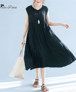 BelineRosa Summer Style Sleeveless Women Dresses Casual Plus Size Women Clothing Pure Color Pleated Dress Female  TYW00760 1