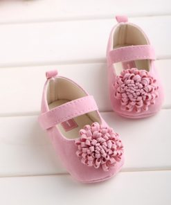 Candy Colors Newborn Baby Prewalker Soft Bottom Anti-slip Shoes Footwear Classic Princess Girl Crib Mary Jane Big Flower Shoes 1