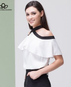 Bella Philosophy 2018 women summer silky chiffon off shoulder bow tie back open ruffles shirt blouse short sleeve 1