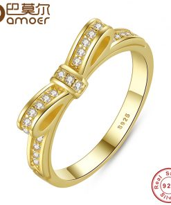 BAMOER 925 Sterling Silver Sparkling Bow Knot Stackable Ring Micro Pave CZ for Women Valentine's Day Gift Jewelry PA7104 1