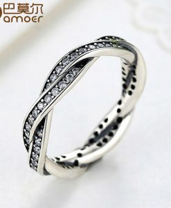 BAMOER 8 STYLE BRAIDED PAVE ,LEAVES My Princess Queen Crown SILVER RING Twist Of Fate Stackable Ring ANNIVERSARY SALE 2018 1