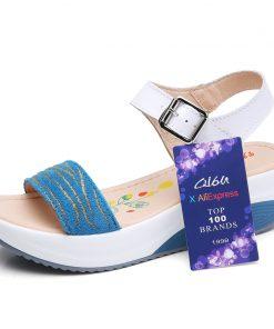 O16U Summer Women Sandals Shoes Strap Leather Leopard Casual sandals Ladies Buckle Basic Flat Platform Women Comfortable Shoes 1