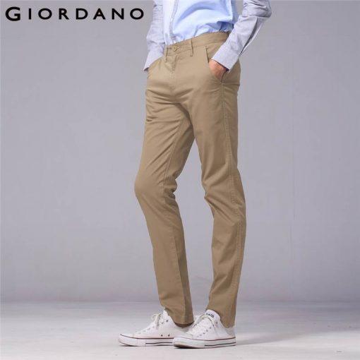 Giordano Men Pants Men Khaki Pantalon Homme Slim Pants Men Quality Trousers Men Cotton Business Casual Modern Pantalones Hombre 2
