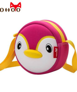 NOHOO High Quality Waterproof Animals Shoulder Bag 3D Penguin Printed Handbag Small Circular Cartoon Kids Baby Bags