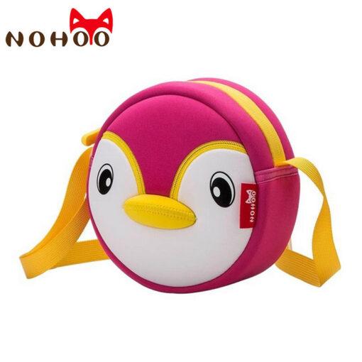 NOHOO High Quality Waterproof Animals Shoulder Bag 3D Penguin Printed Handbag Small Circular Cartoon Kids Baby Bags