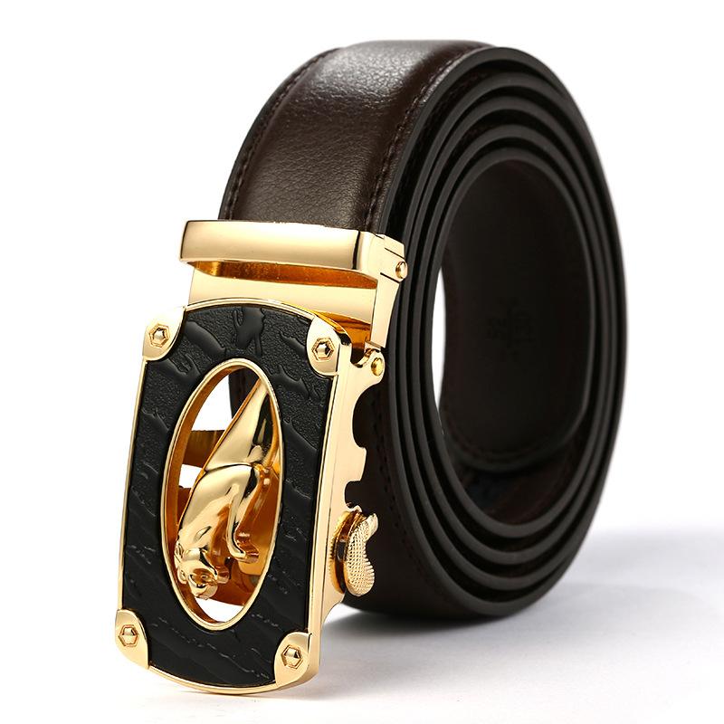 Men'S Belt Belts Genuine Leather Gift Waistband Suspenders Accessories Famous Brand Apparel Waist Man Black Stretch Buckles 1