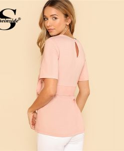 Sheinside Pink Self Belt Keyhole Back Blouse Solid Short Sleeve Top 2018 Summer Women Office Ladies Work Elegant Blouse  1
